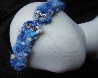 Softest Hand Knit Hair Band - 18.5 inch - cobalt cornflower blue and white