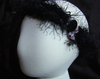 Slightly Goth - headband or neck collar - subtle pink and black with coordinating pendant - 17 inch