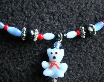 Child's Teddy Bear Necklace - 15 inch - pale cornflower blue and black with silver and red accents