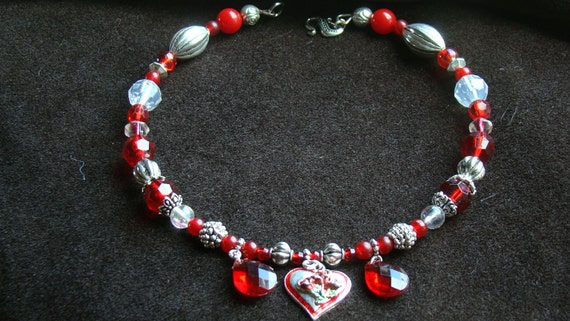 SALE Dog Collar Heart - Ruby Red and Silver - 13 inch - SALE 7 dollars off