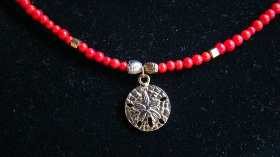 2 OFF SALE Sand Dollar - Red Jasper and Gold Choker - 16 inch - beads and glass with anatomically correct sand dollar