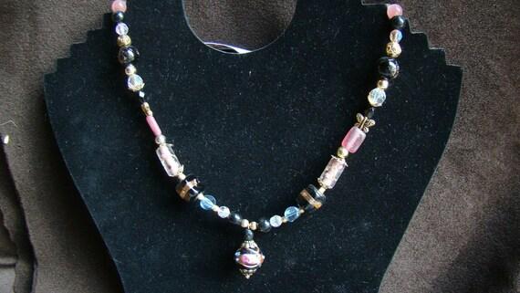 Vintage Glass Beads - Lampwork Pendant Necklace - Black, Rose, Gold - 20 inch SALE