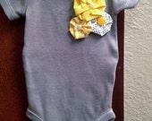 Unique Baby Girl Onesie in Gray With Beautiful Handmade Flowers
