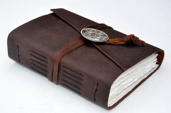 "Handmade Leather Journal 5 1/2"" x 7 1/2"" - 140 lb watercolor paper - Sketchbook"