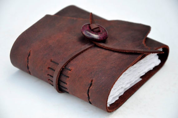 "Handmade Leather Journal 4 1/2"" x 4 1/2"" - 90 lb watercolor paper - Sketchbook"