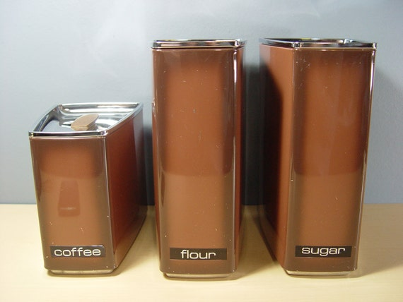 1970s Vintage Lincoln Beauty Ware Coffee Sugar & Flour Storage Canister Tins (Set of 3)
