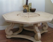 Hand Painted Solid Wood Medallion Coffee Table