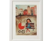 Rocking ourselves / mother children art illustration print artteam picture child room decoration blue red brown town - LidiaSteiner