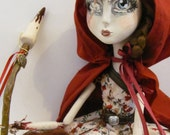 Little Red Riding Hood - Wolf Hunter - OOAK polymer clay art doll