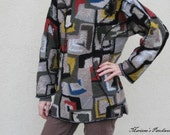Woolen hoodie - Squares and shapes patchwork 30% OFF
