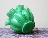 vintage fenton green milk glass vase with ruffled edge and hobnail detail