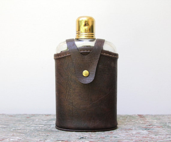 vintage / antique glass flask with brown leather case and gold cap