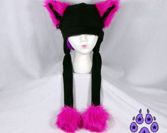 Pawstar  FLUFFY MEW HAT Extra Warm You Pick Color Fur Kitty Cat Puffet ear flap Animal beanie ski fleece cosplay anime Neon Pink Pastel 1130