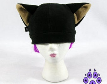 Pawstar BASIC KITTY Hat Cat Ear Beanie Animal Ears Fleece Ski Cap You Pick Color Black White Gray Brown Tan Pink red Cosplay Costume 1100