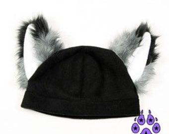 Pawstar FOX YIP HAT Furry Ears Fleece Beanie Hat You Pick Color Black White Gray Brown Orange Red Yellow Green Blue Purple Pink Otaku 1310