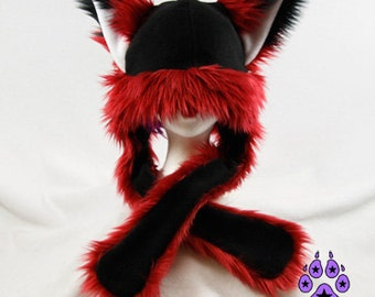 Pawstar FOX YIP Hat III You Pic Color White Black Red Marroon Bright Dark kitsune Puffet Hat warm rave fleece Faux Fur Wolf Animal ear 1751