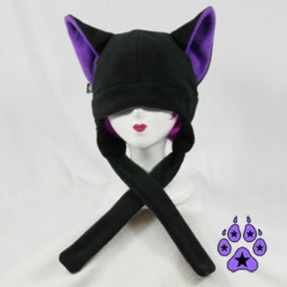 Pawstar Black and Purple Canine Wolf Hat ear flap strap warm ski furry anime fleece cosplay goth snowboard winter straps 1300