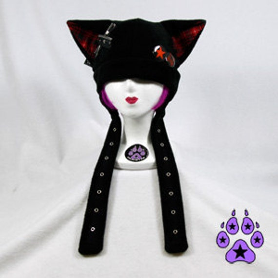 Pawstar ZIP KITTY HAT YOu Pick Color Plaid Black Red Pink Purple Gray White Goth Jrock Punk Rock Zippers Grommet Tape Buttons Plaid 1852