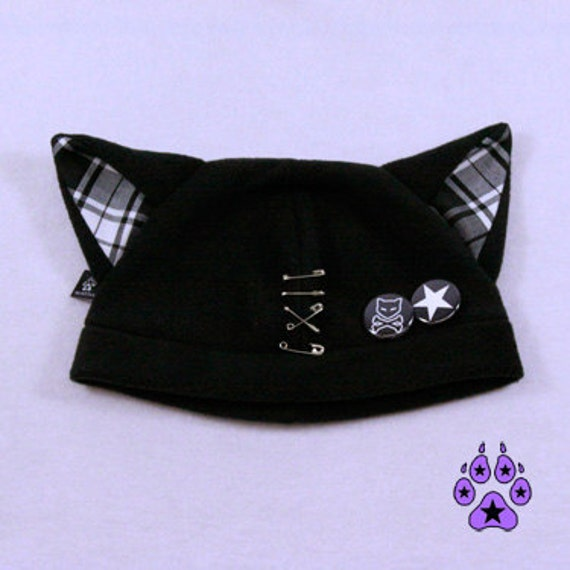 Pawstar SAFETY PIN KITTY Hat You Pick Plaid Color Red Black White Grey Gray Red Pink Purple Jrock Punk kawaii anime cat fleece beanie 1854