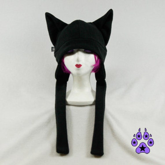Black Shadow Canine Wolf Hat ear flap warm ski fleece furry cosplay cyber anime dog snowboard winter straps 1300