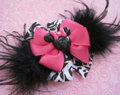 Hot Pink and Damask Minnie Mouse Inspired Hair Bow with Black Feathers