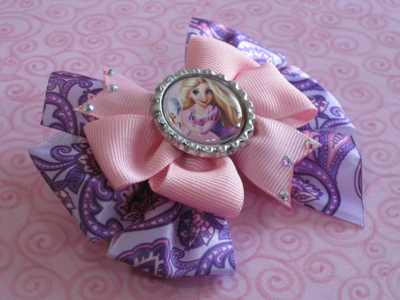 Disney Rapunzel Inspired Hair Bow, Purple Paisley, Pink, Swarovski Crystals