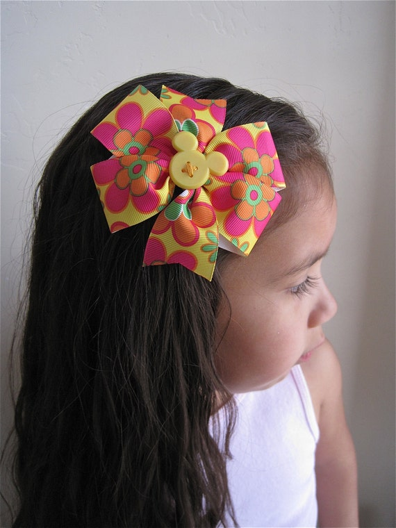 Disney Mickey Mouse Inspired Hair Bow, Yellow, Spring Flowers