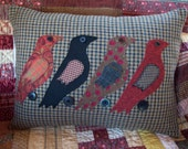 Country Birds on Tan Houndstooth Pillow Slipcover