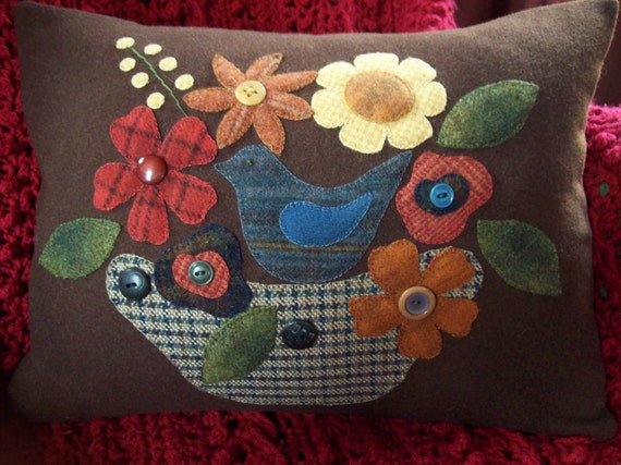 Bird in Blooms on Brown Wool Pillow Slipcover