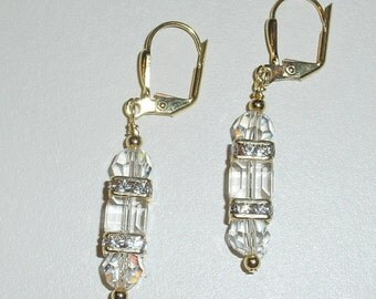 Crystal Cubes Gold Plated Leverback Earrings - e-63 Ready to Ship
