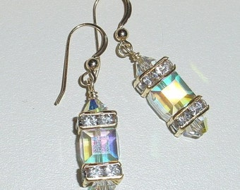 Swarovski Crystal AB Cube Dangle Earrings 14kt Gold Filled French Earwires e-28 Ready to Ship