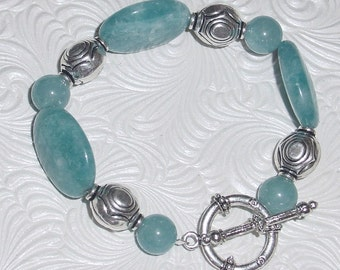 Aquamarine and Pewter Bracelet  - e-102