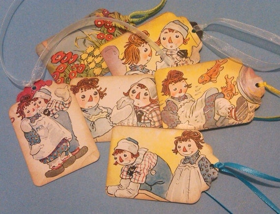 Upcycled Vintage Gift Tags Raggedy Ann and Andy