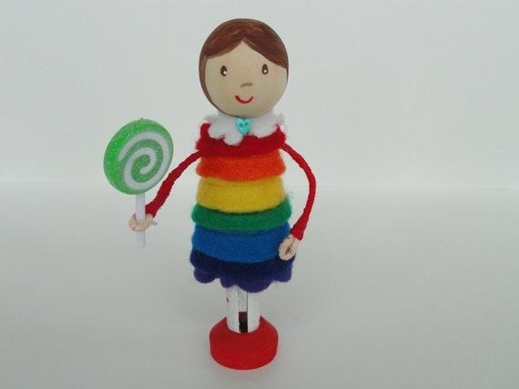 Birthday Clothespin Doll Cake Topper Rainbow