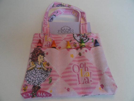 For Megpillow 5 Fancy Nancy Pink Children's Crayon Bags and Customized Paper