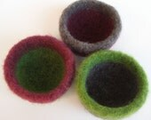 3 felted wool bowls