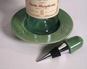 Ginkgo Wine Bottle Coaster and Bottle Stopper set.