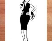 Fashion Illustration Postcard, A6, black and white