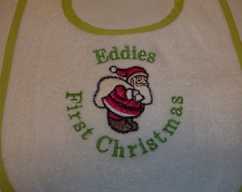 First Christmas Santa Baby Bib