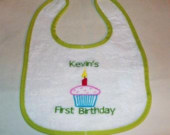Personalized First Birthday Baby Bib