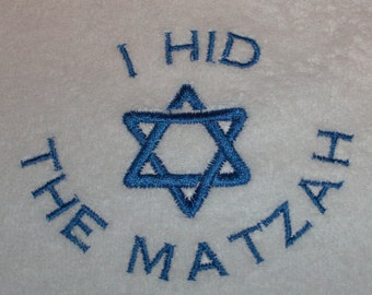 Embroidered Passover I Hid The Matzah  bib Jewish