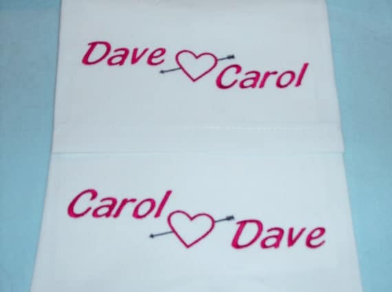 Personalized Embroidered Valentine Pillowcases