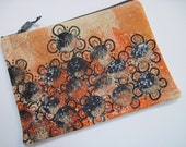 Hand Dyed and Decorated Fabric Zipper Pouch
