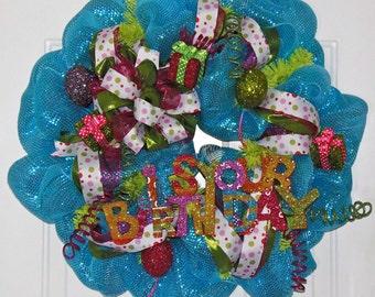 Happy Birthday Mesh Wreath - It's Your Birthday