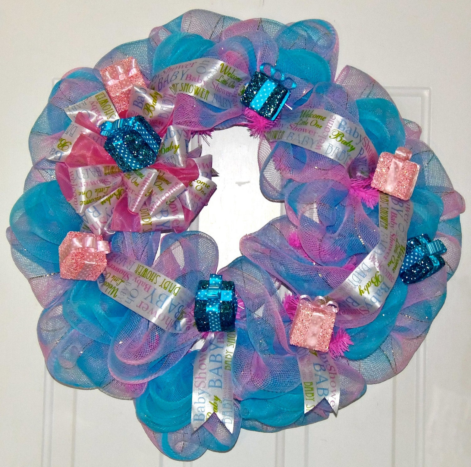 baby shower wreath pink and blue by bellaswreaths on etsy
