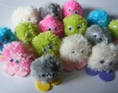 Pack of 5 Quiet Critters / Pom Pom Monsters - great for party bag fillers