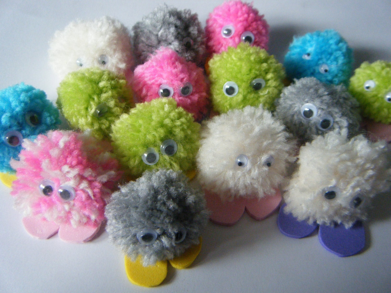pack of 5 quiet critters pom pom monsters great for party