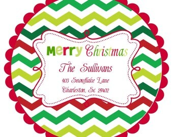 Christmas Address Labels Stickers Round