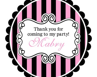 Pink and Black Round  Labels Stickers for  address labels, gift tags, or party favor labels- ANY COLORS