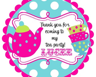 Tea Party Round  Labels Stickers for   party favors, gift tags, or address labels